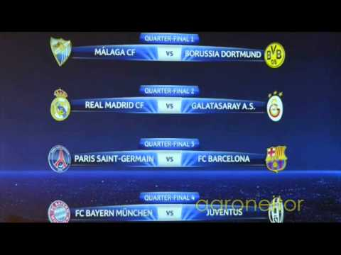 Sorteo de Cuartos de Final de La Champions League 2013 - Quarter-Finals Champions League 2013