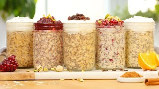 5 Festive Overnight Oatmeal Recipes by The Domestic Geek