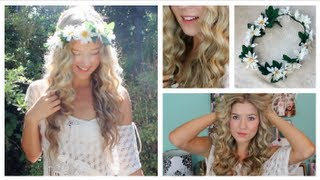 Taylor Swift Curly Hair Tutorial & DIY Flower Crown - YouTube