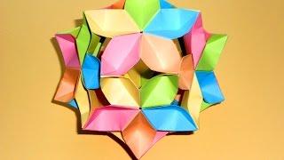 Оригами цветок кусудама шар Сакура Простые поделки из бумаги