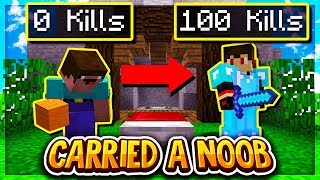 Carrying A NOOB In BEDWARS (Minecraft BEDWARS)