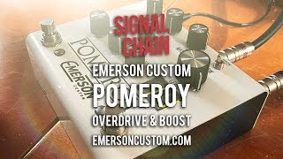 """https://signalchain.com.au/products/pomeroyhttps://emersoncustom.com/products/pomeroy-whiteThe Pomeroy Overdrive and Boost combines Germanium and Silicon overdrive (6 modes) with a 2-stage 24dB clean boost. You can engage the boost or overdrive independently and use both (boost follows OD) if you wish. That sort of flexibility, coupled with the Pomeroy's clipping options and uber-tough build, makes this one desirable pedal. You'll find that the Germanium position (1st) offers cool old-school grain and grind, while the remaining 5 positions give you varied stages of loudness and attack (Silicon and Op-Amp). There's an Insert Jack onboard too, for effects insert between the overdrive and boost. The Pomeroy looks and sounds great and will probably outlast all of us! Nice one, Mitch; your great great grandfather would have been proud!Many thanks to Rodger van Raalte and Mitch Ingram.Today's tools:Guitar: 2016 Ernie Ball Music Man Albert Lee Pink Burst (stock).Amp: 2015 Achillies Vibrolux Reverb Replica with 2x10 JensensExtra effects: N/ACables: Goodwood Audio and ProvidencePower Supply: Voodoo Lab MONDOMic's: sE V3 Dynamic and VR1 (https://www.seelectronics.com) (Vibrolux);  Samson Airline77 (me)Camera: Canon 60D (me) and Nikon D5100 (pedal)Soundcard: AVID Mbox Pro 3Computer: Apple iMac 27"""" i7 3.4 GHz 16 GB RAMSoftware: Logic Pro X, Waves L3-16 Limiter (to keep levels in check at output), Apple Final Cut Pro X (video editing and Youtube compression)."""