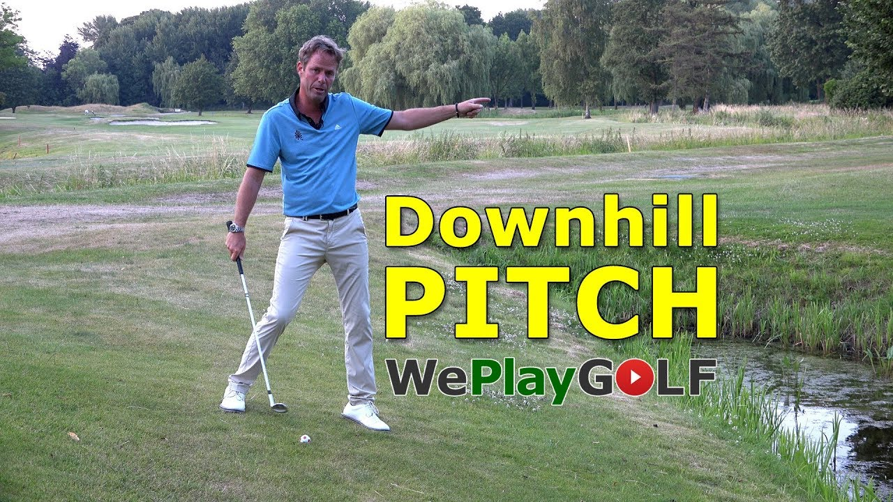 How to play a downhill pitch over a waterhazard?