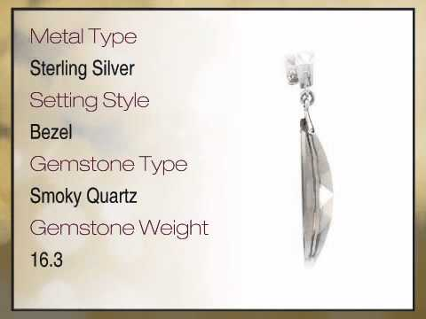 Fabulous Marquise Cut Smoky Quartz & Round Cut Morganite Pendant expertly set in Sterling Silver for