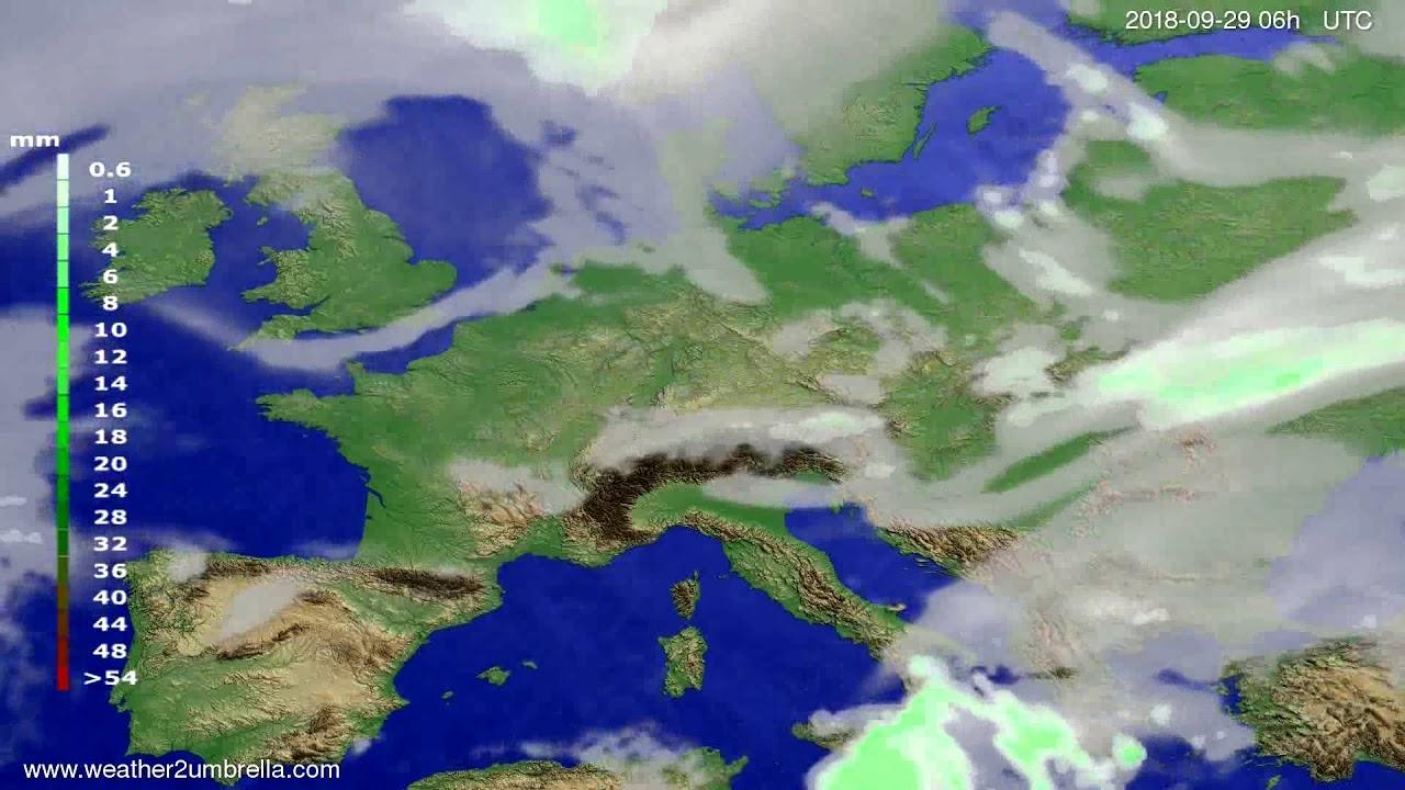 Precipitation forecast Europe 2018-09-26