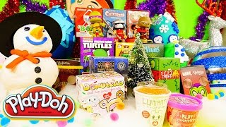 Play Doh Surprise Eggs Holiday Christmas Blind Boxes Disney TMNT Marvel DCTC Toys Playdough Videos