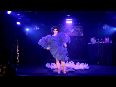 burlesque dance - Miss Indigo Blue performing her triple fan dance burlesque act live at Kitty Nights in Vancouver BC, October 2013. This act is seen in the opening sequence o...