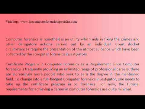 A Certificate Course to achieve the status of Computer Forensics Specialist.wmv