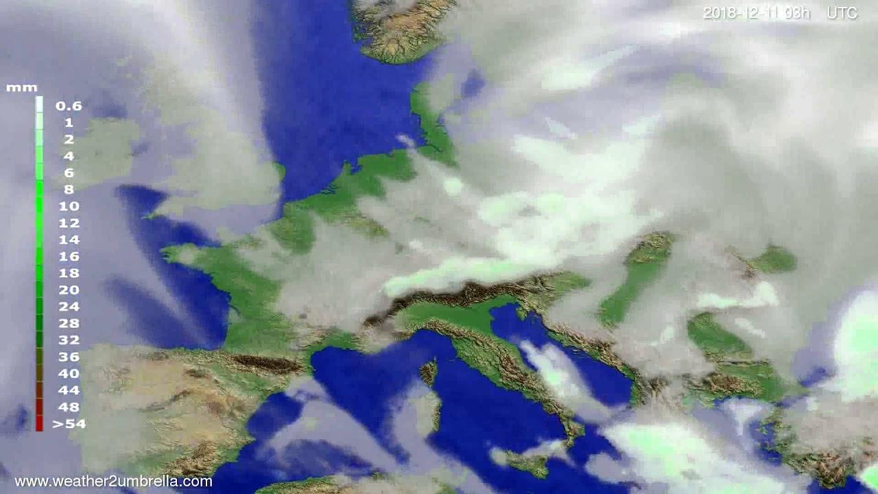 Precipitation forecast Europe 2018-12-08