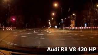 Boguś znowu w akcji! Tym razem wyścig po Warszawie Audi R8 kontra Honda CBR 929RR
