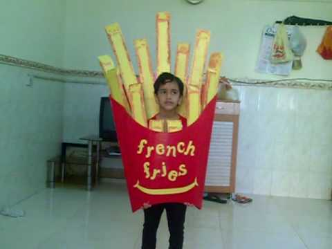 ashfina practicing to perform french fries in fancy dress competition