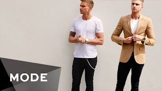 Short on time before a big evening out? Carl Cunard shows men how to quickly turn the casual uniform of a T-shirt and jeans into an outfit that's perfect for a night on the town. http://mode.com/mode-videoFor more videos like this, visit us on MODE: http://www.mode.com/mode-video Follow us on Twitter: http://twitter.com/modestoriesFriend us on Facebook: https://www.facebook.com/modestoriesCheck us out on Instagram: http://instagram.com/modestoriesGet inspired on Pinterest: http://www.pinterest.com/modestoriesAdd us to your circle on Google+: http://bit.ly/glam-googleplus