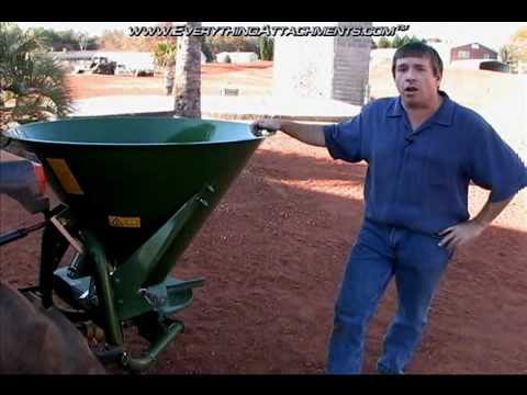 Spreader - EverythingAttachments.com shows the Agrex XA300 Fertilizer Spreader for Tractors, PTO Driven, 3-Hitch.