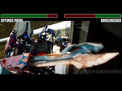 Optimus Prime vs. Bonecrusher fight WITH HEALTHBARS | HD | Transformers