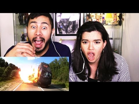 HARDCORE HENRY trailer reaction review by Jaby & Jenn Cadena!