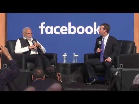 Townhall Q&A with PM Modi & Mark Zuckerberg at Facebook HQ in San Jose, California