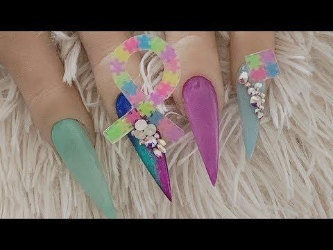 Acrylic nails - acrylic nail design for autism awareness