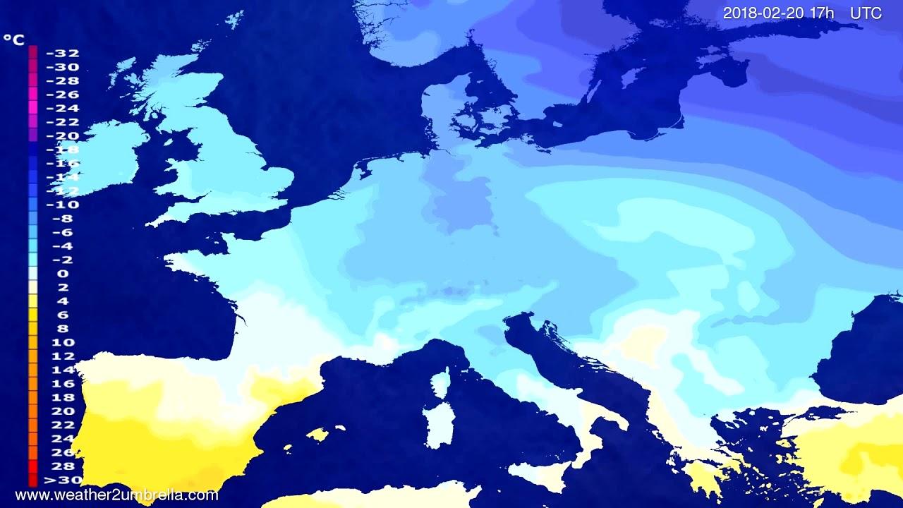 Temperature forecast Europe 2018-02-18