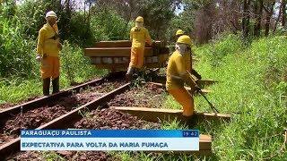Dormentes da linha férrea são trocados e Maria Fumaça deve voltar a fazer passeios