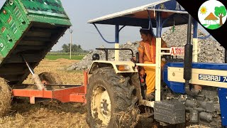 Village girl Swaraj 744 Tractor with heavy loads used Hydraulic Tipper trailer - Come to Village