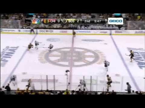 6 0 - Patrice Bergeron snapshot PPG 2-0. 6/17/13 Chicago Blackhawks vs Boston Bruins NHL Hockey. NBC Sports feed. Announcers PBP Doc Emrick, Eddie Olczyk, inside t...