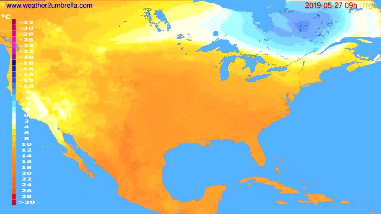 Temperature forecast USA & Canada // modelrun: 00h UTC 2019-05-25