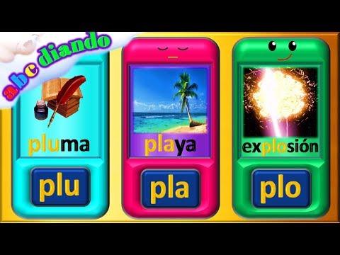 Frases cortas - ABCdiando para aprender a leer  sílabas y palabras con pla ple pli plo plu
