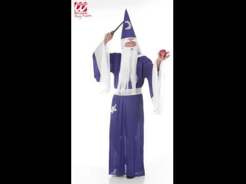 Déguisement de magicien avec robe, collier, ceinture et chapeau