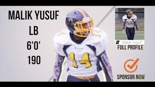 Malik Yusuf LB/HB Class 2018 - HESN 2K15 (NCAFA) Football Highlights
