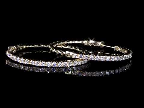女裝14K黃金1.06克拉(總重)鑽石大圈耳環