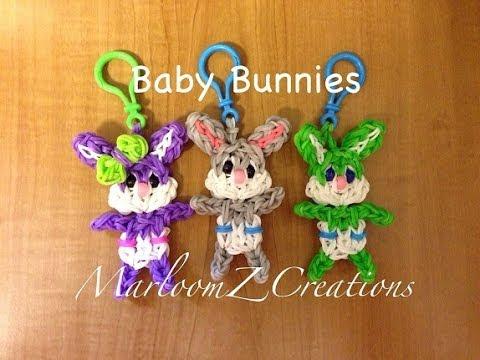 Rainbow Loom Baby Easter Bunny: conejito bebe konijntje met luiertje