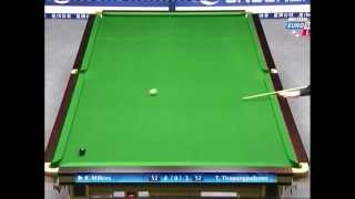 AMAZING SNOOKER SHOT AT WORLD OPEN. R.MILKINS V T. TIRAPONGPALBOON.