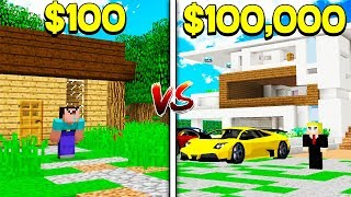 $100 WORLD vs $100,000 WORLD IN MINECRAFT! (FAN VIDEO)