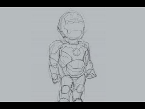 Como desenhar o Homem de Ferro (versão chibi)