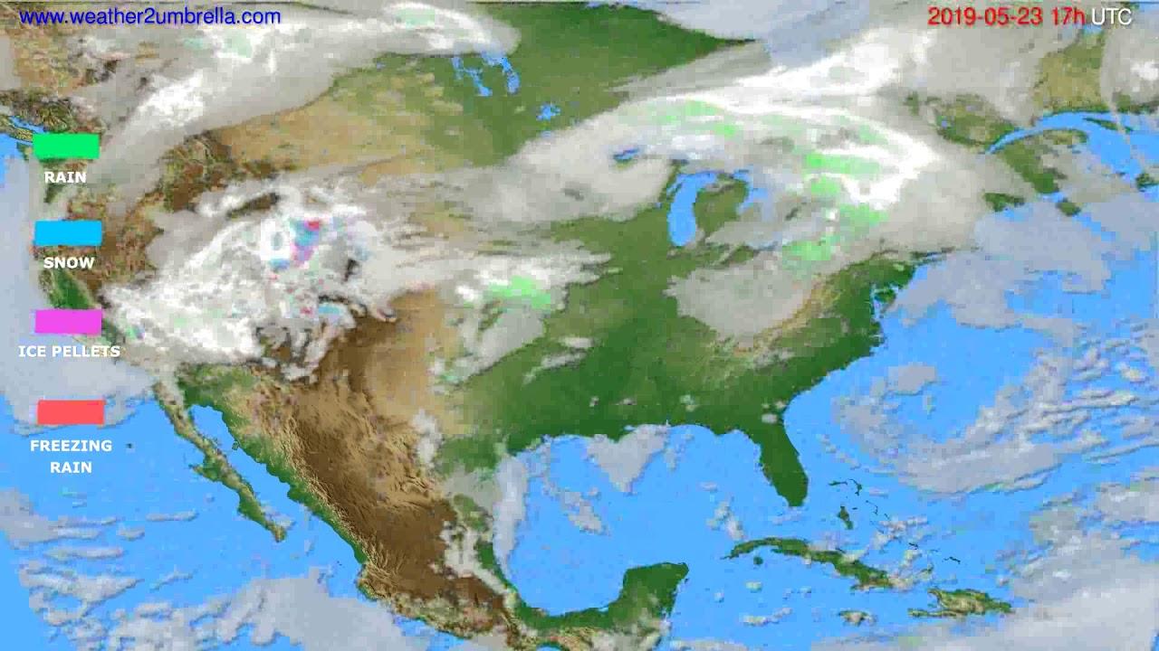 Precipitation forecast USA & Canada // modelrun: 00h UTC 2019-05-22