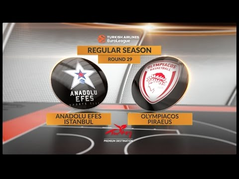 EuroLeague Highlights RS Round 29: Anadolu Efes Istanbul 77-69 Olympiacos Piraeus