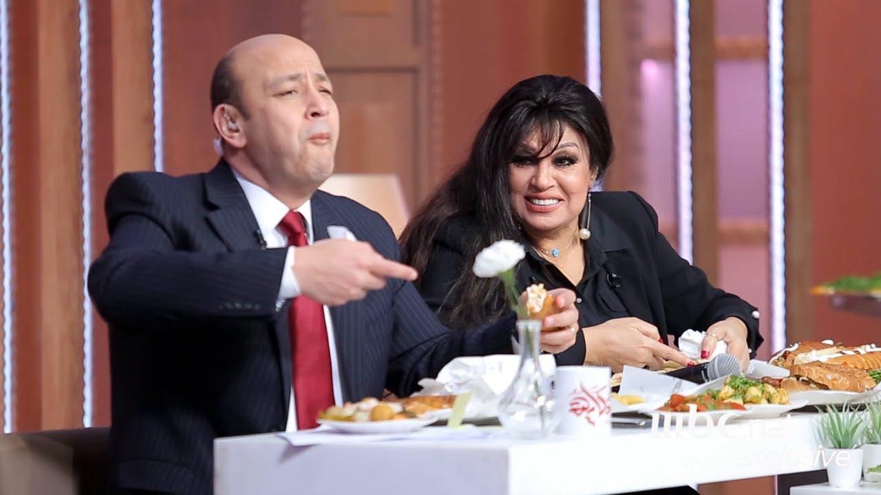كواليس تحدي الأكل بين عمرو أديب وفيفي عبده في #الحكاية