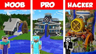 Minecraft NOOB vs PRO vs HACKER: WATER POWERED HOUSE BUILD CHALLENGE in Minecraft / Animation
