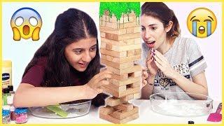 Jenga Slime Challenge Kötü Malzemeli Slaym Eğlenceli Çocuk Videosu Dila Kent