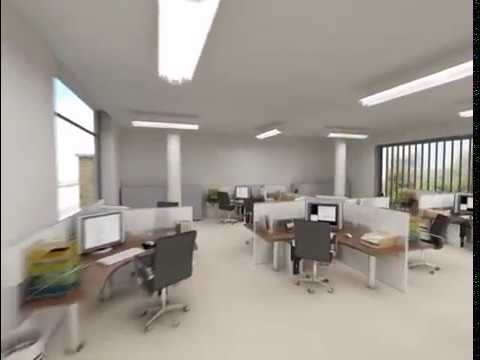 interior 3d animation - This is a 3D walkthrough of a modern open plan office development. It is an accurate representation of the office layout and interior design. It involved the...