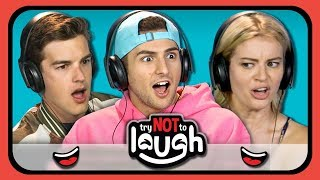 YouTubers React To Try To Watch This Without Laughing or Grinning #9