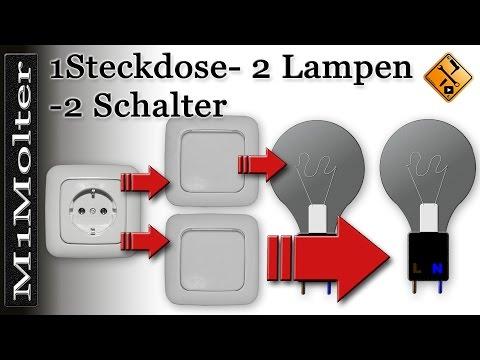 Anschluss - Steckdose u. 2 Lampen + 2 Schalter am Schaubild von M1Molter