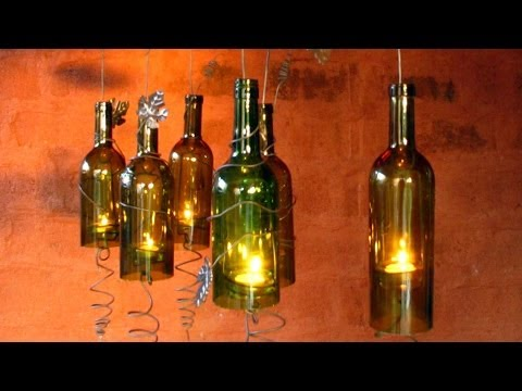 How to make a hurricane candle holder out of recycled wine for Make candle holder wine bottle