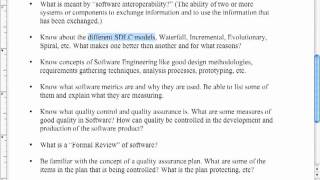 Software Engineering I Final Exam Review (Week Day)