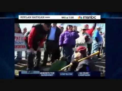 REPUBLICAN TEA PARTY ANTI HEALTH CARE PROTESTERS MOCK PARKINSON'S PATIENT