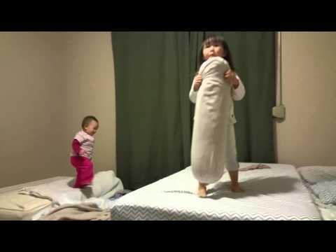 Bedroom bed jumping fun