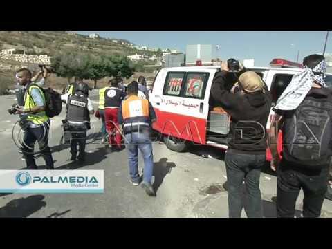 استهداف الصحفيين بشكل مباشر في مواجهات حوارة 11-10-2015