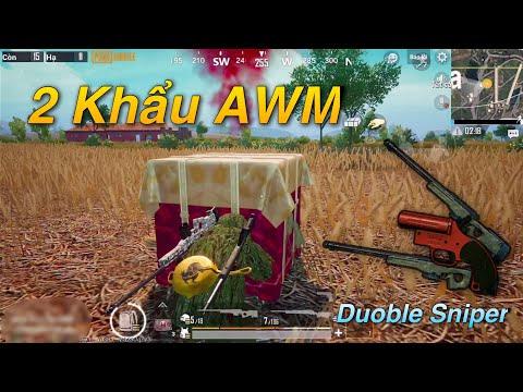 PUBG Mobile   Thử Thách Double Sniper AWM - Lấy TOP 1 Chỉ Với 1 Chấm Máu :v - Thời lượng: 16 phút.