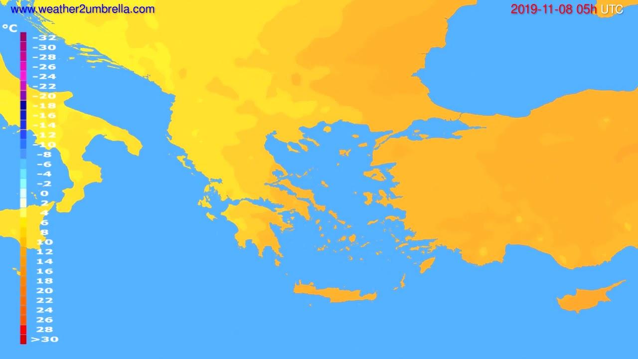 Temperature forecast Greece // modelrun: 00h UTC 2019-11-07