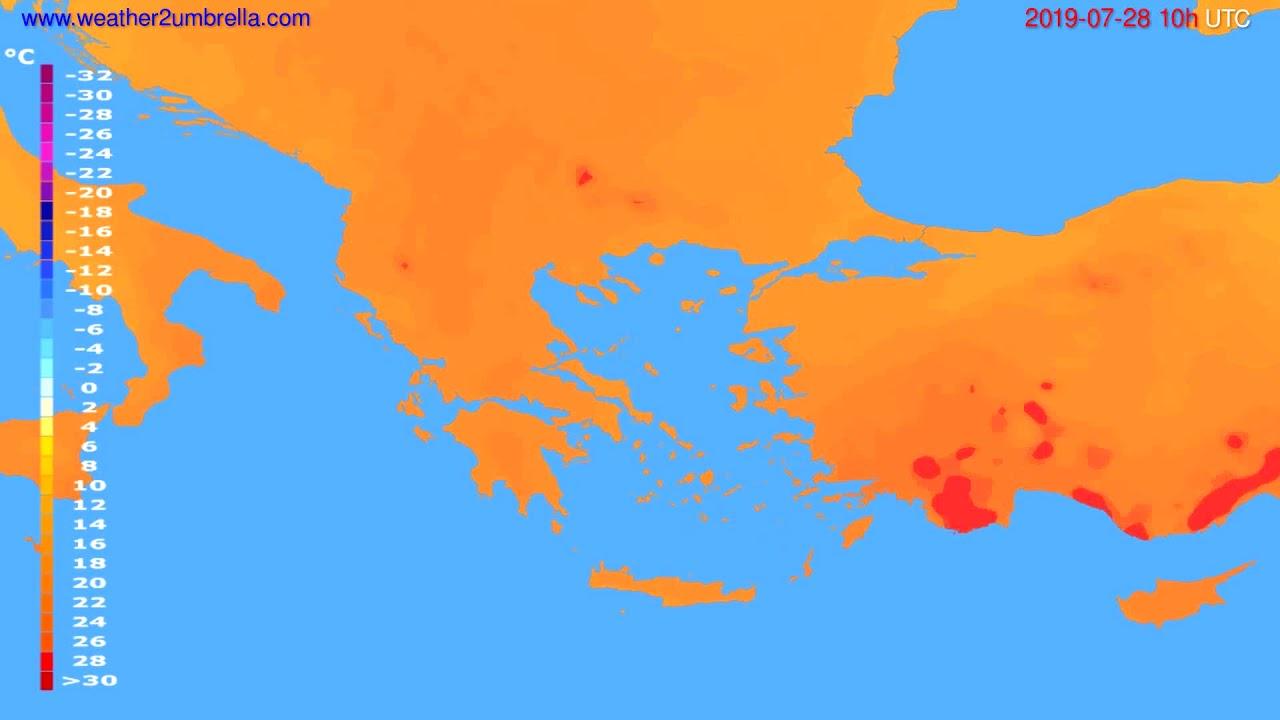 Temperature forecast Greece // modelrun: 12h UTC 2019-07-25